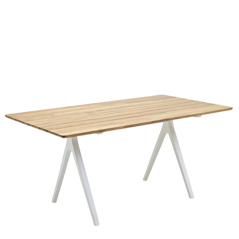 Split 92cm x 170cm Dining Table With Buffed Teak Top And White Frame