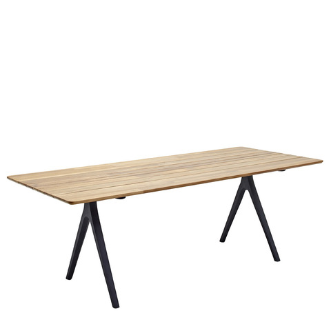 Split 92cm x 220cm Dining Table With Buffed Teak Top And Meteor Frame