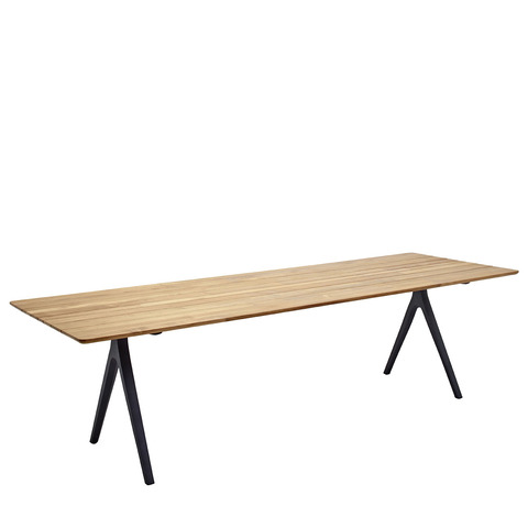 Split 92cm x 280cm Dining Table With Buffed Teak Top And Meteor Frame