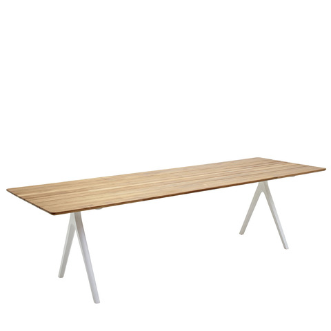 Split 92cm x 280cm Dining Table With Buffed Teak Top And White Frame