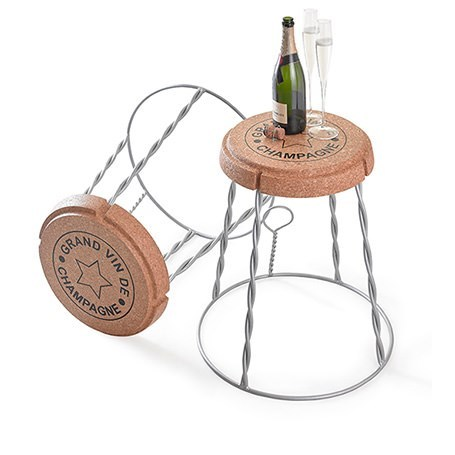 Giant Champagne Wire and Cork Side Table / Stool