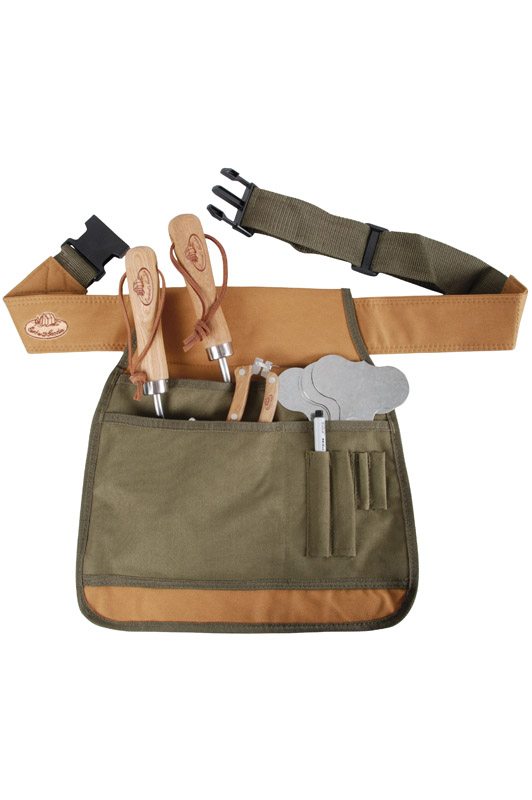 Garden Tool Belt Green & Tan