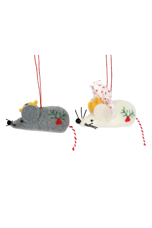 Wool Mix Mice with Crown