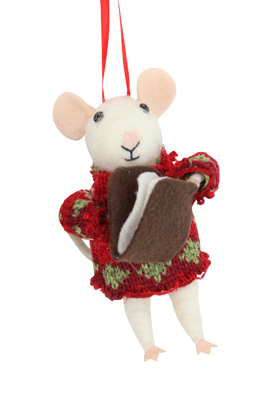 Wool Mix White Mouse Red Jumper