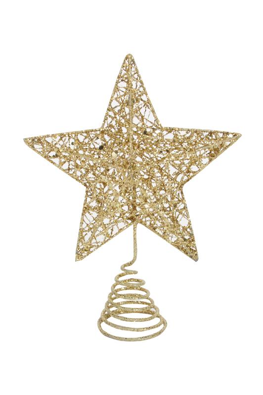 Gold Glitter Wire Mesh TreeTop Star