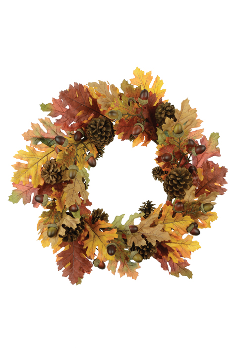 Artificial Autumn Oak Wreath